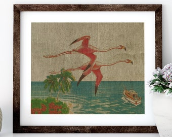 Flamingos Postcard Linen Print for Framing, Nautical Artwork