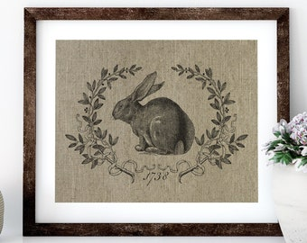 Bunny Linen Print for Framing, Rabbit Wall Art