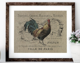 French Chicken Linen Print for Framing, Farmhouse Wall Art