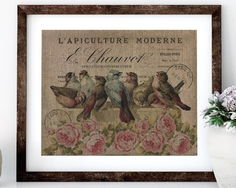 French Bird Linen Print for Framing, Birds Wall Art