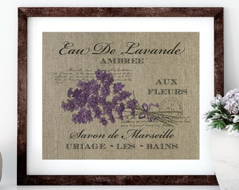 Lavender Linen Print for Framing, French Wall Art