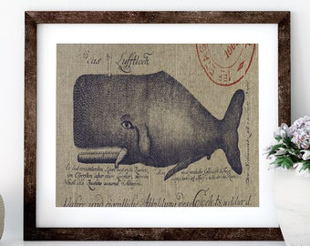 Whale Linen Print for Framing, Florida Artwork