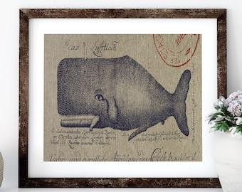 Whale Linen Print for Framing, Florida Artwork