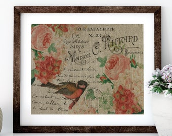 Red Bird Linen Print for Framing, Birds Wall Art
