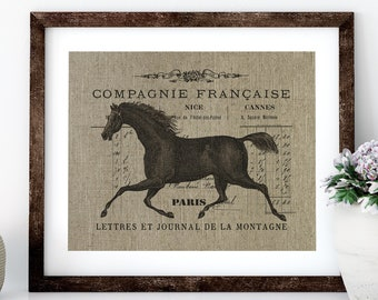 French Equestrian Linen Print for Framing, Horse Wall Art