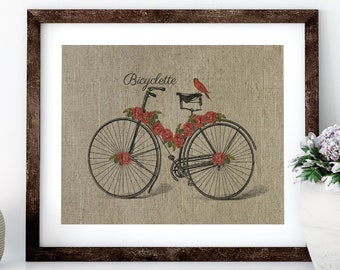 Bike With Roses Linen Print for Framing, Bike Wall Art