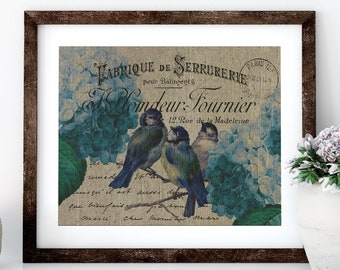 Blue Birds Linen Print for Framing, Birds Wall Art