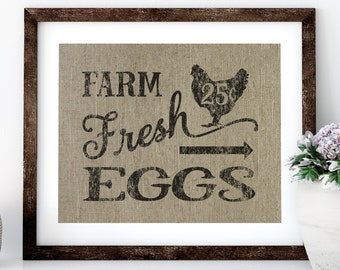 Farm Fresh Eggs Linen Print for Framing, Chicken Wall Art