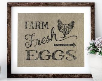 Farm Fresh Eggs Linen Print for Framing, Chicken Wall Art