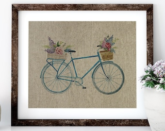 Watercolor Bike Linen Print for Framing, Bike Wall Art