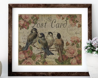 Birds with Roses Linen Print for Framing, Birds Wall Art