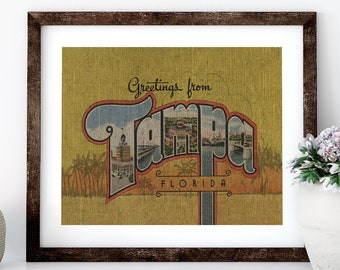 Tampa Bay Linen Print for Framing, Florida Artwork