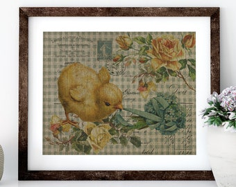 Chicken Linen Print for Framing, Chicken Wall Art