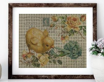 Chicken Linen Print for Framing, Chicken Wall Art