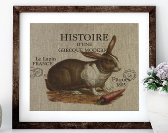 Hare Linen Print for Framing, Natural History Artwork
