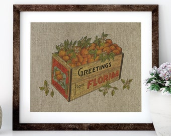 Florida Oranges Postcard Linen Print for Framing, Florida Artwork