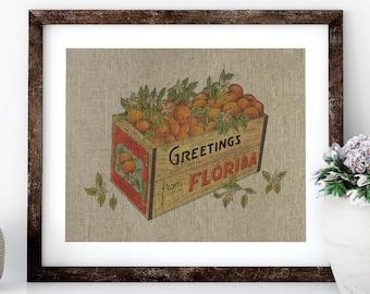 Florida Oranges Postcard Linen Print for Framing, Florida Artwork