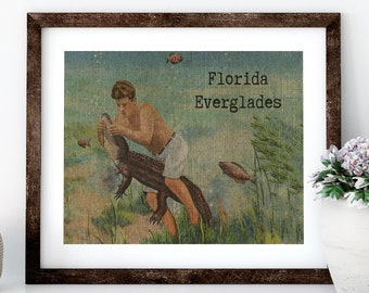 Florida Everglades Linen Print for Framing, Florida Artwork