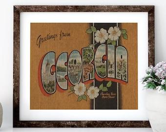 Georgia Postcard Linen Print for Framing, Postcard Wall Art