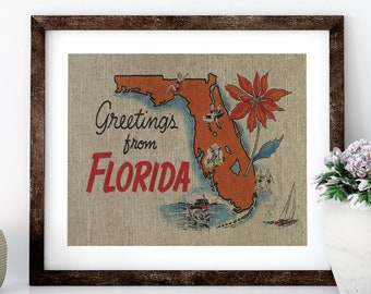 Greeting from Florida Postcard Linen Print for Framing, Florida Artwork