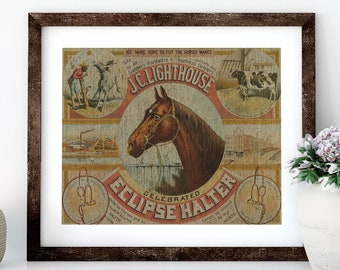 Horse Linen Print for Framing, Equestrian Wall Art