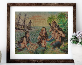 Mermaids Linen Print for Framing, Nautical Artwork