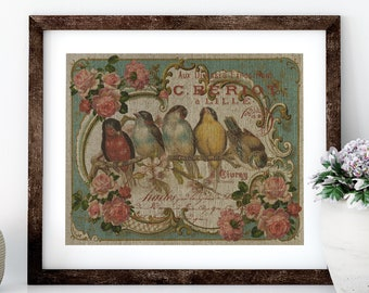 French Birds Linen Print for Framing, Birds Wall Art