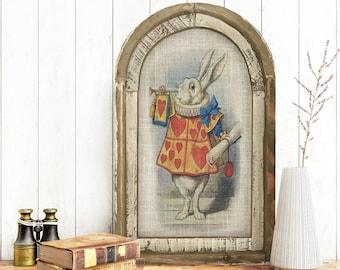 "White Rabbit Wall Art | 14"" x 22"" | Arch Window Frame | Linen Wall Hanging | Rustic Farmhouse Decor |"