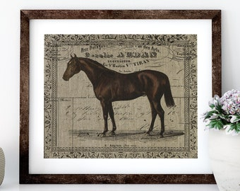 French Horse Linen Print for Framing, Equestrian Wall Art