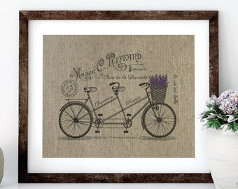 Lavender Bike Linen Print for Framing, Bike Wall Art