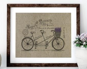 Lavender Bike Linen Print for Framing, Bike Wall Art