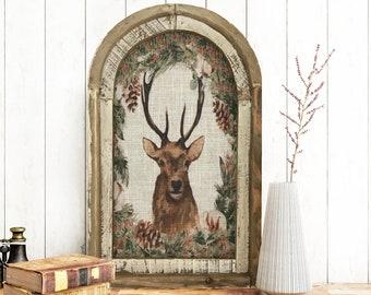 "Christmas Deer Wall Decor | 14"" x 22"" | Arch Window Frame | Winter Wall Hanging | Farmhouse Xmas Decor |"