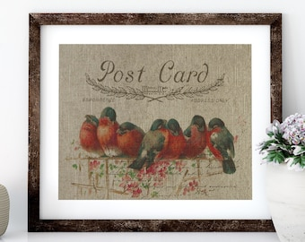 Red Birds Linen Print for Framing, Birds Wall Art