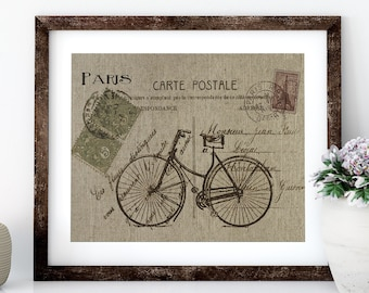 Paris Bike Linen Print for Framing, Bike Wall Art