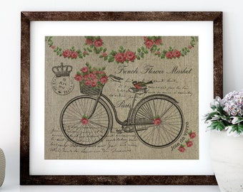 Paris Bike with Roses Linen Print for Framing, Bike Wall Art