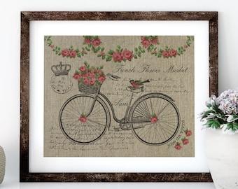 Paris Bike with Roses Linen Print for Framing, Bike Wall Art