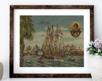 Gasparilla Linen Print for Framing, Florida Artwork, Tampa Wall Art