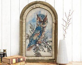"Winter Owl Wall Decor | 14"" x 22"" | Arch Window Frame | Winter Wall Hanging | Farmhouse Decor |"