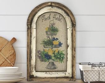"Fresh Herbs Wall Art | 14"" x 22"" | Arch Window Frame | Linen Wall Hanging |  Farmhouse Kitchen Decor |"