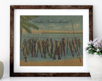 Florida Fishing Linen Print for Framing, Florida Artwork