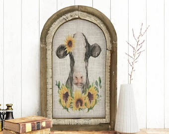 "Cow Wall Art | 14"" x 22"" | Sunflower Wall Decor | Linen Wall Hanging | Rustic Farmhouse Decor |"