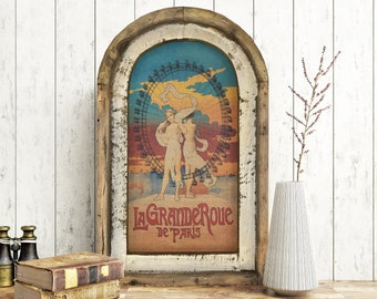 "Grande Roue de Paris Wall Art   14"" x 22""   Arch Window Frame   Linen Wall Hanging   French Farmhouse Decor  "
