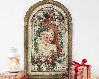 "Santa Wall Art | 14"" x 22"" | Christmas Wall Art | Winter Wall Hanging | Farmhouse Xmas Decor |"