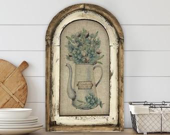 "Farmhouse Herbs Wall Art | 14"" x 22"" | Arch Window Frame | Linen Wall Hanging |  Farmhouse Kitchen Decor |"