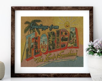 Florida Sunshine Postcard Linen Print for Framing, Florida Artwork