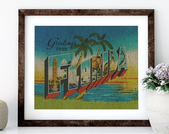 Florida Postcard Linen Print for Framing, Florida Artwork