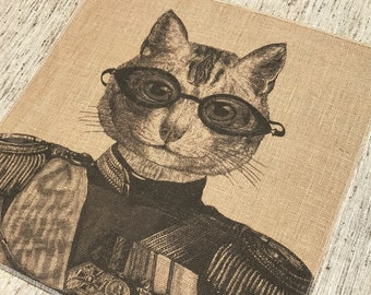 Cat Grainsack Burlap Panel, Reproduction Printed Fabric