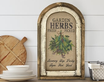 "Kitchen Wall Decor   14"" x 22""   Garden Herbs Sign I Rustic Dining Room Decor I Farmhouse Wall Art I"