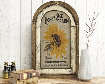 "Honey Bee Wall Art | 14"" x 22"" 