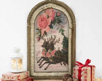 "Reindeer Wall Decor | 14"" x 22"" | Noel Wall Decor | Christmas Wall Hanging | Farmhouse Xmas Decor |"